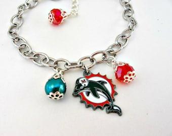 Miami Dolphins Bracelet, Miami Dolphins Jewelry, Miami Dolphins, Football Mom, Dolphins Accessories, Football Jewelry, Dolphins Fan Wear