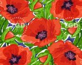Preppy Red Poppies Digital Paper, watercolor poppies, floral digital paper, watercolor digital paper, scrapbook paper, preppy paper