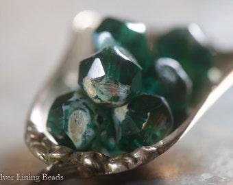 Emerald Morsels (10) - Czech Glass Bead - 8mm - Central Cut