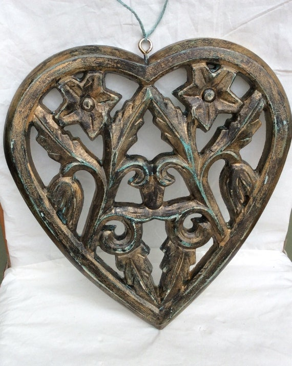 Decorative Wall Hanging Hearts : Ornate hanging wall decor heart shaped hand painted