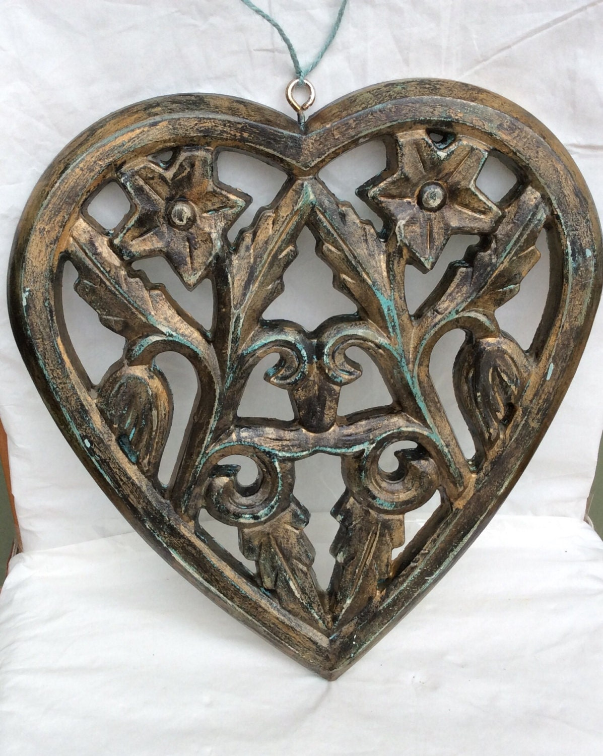 Ornate hanging wall decor heart shaped hand painted for Heart shaped decorations home