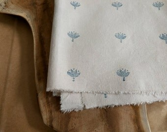 Block Print Fabric, Boho Fabric | Indian lotus flower hand block printed cotton in indigo blue, rustic natural printed cotton fabric.