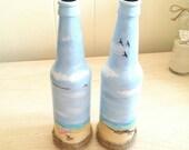Beach Scape, Recycled Beer Bottle,  Home Decor,  Set, Vases , Bottle Vase, Glass Art