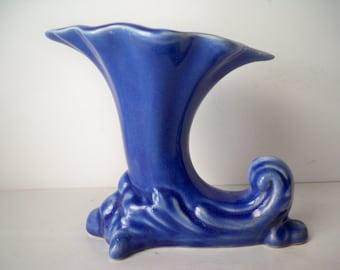1950s Vintage Deep Periwinkle Blue Colored Cornucopia Style Pottery Vase