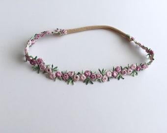 Lilac/Purple Floral One Size Headband...Baby Headband...Photo Prop