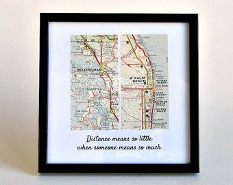 Long Distance Dad, Daughter to Father Gift, Gift for Dad, Long Distance Christmas Gifts, Framed Map Gift, Personalized Distance Map, Stepdad
