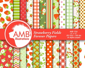 80%OFF Strawberry digital papers, Berries papers, Strawberries scrapbook papers, Red and green Berry Papers, commercial use, AMB-497