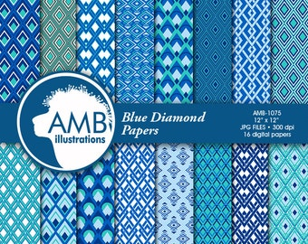 Geometric digital papers, geometric patterns, diamond papers, dad papers, masculine papers,  Blue papers, tie papers, AMB-1075
