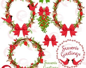 Christmas clipart, Christmas wreath Clipart,  Country Christmas, Cardinal clipart, Christmas embellishment, mistletoe AMB-1422
