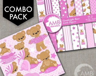COMBO Teddy Bear Digital Papers and Clipart, Nursery, Slumber Party, Baby Girl, Baby Bear, Baby Shower, Girl Birthday, AMB-1643