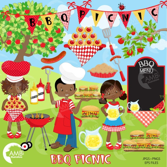 BBQ Clipart Picnic Backyard Barbecue Bbq Party African American Commercial Use AMB 920 From AMBillustrations On Etsy Studio