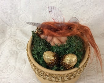 Ooak baby forest fairy with acorns