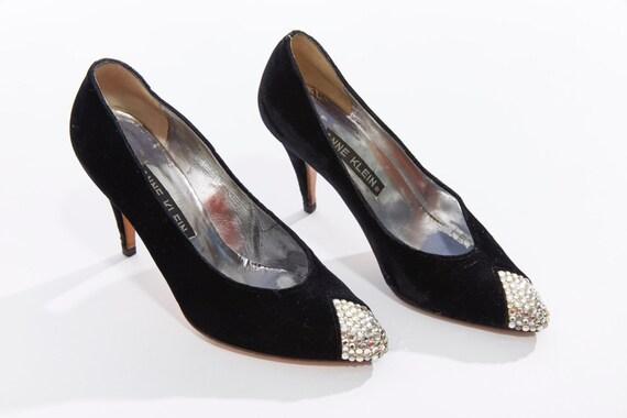 Vtg 80s ANNE KLEIN Designer High Heals Shoes Pumps Velvet Rhinestone Studded Sparkly Cocktail Party Avant Garde Goth Chic minimal US Size 6