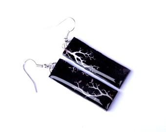 Black earrings, Black design earrings, Tree earrings, Black and white, Black jewelry, White tree earrings,  White jewelry, Christmas gift