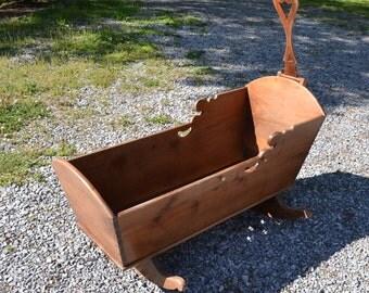 Vintage Wood Baby Cradle Rocker Wooden Cradle Baby Furniture Rustic Primitive Nursery Panchosporch