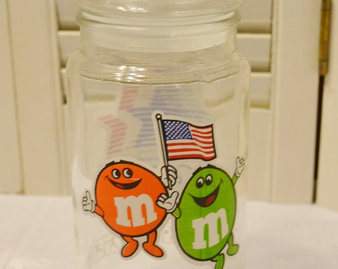 Vintage Glass Jar M & Ms Olympics 1984 Chocolate Candy Storage Jar PanchosPorch
