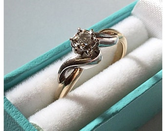 Vintage 9ct Gold Single Stone Diamond Ring