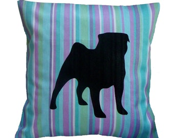 PUG silhouette cushion cover - aqua, lilac, blue cotton - CLEARANCE