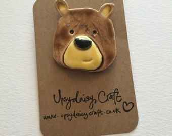 Ceramic Bear Brooch