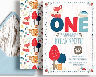 Woodland 1st Birthday Invitation Boys Fox Hedgehog Squirrel Blue Red Orange Printable First Birthday Invite Boy Baby Acorn 2nd 3rd 4th 5th