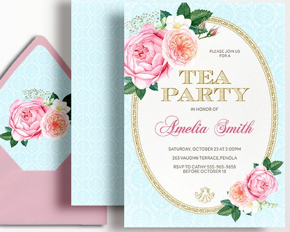 Tea Party Invitation High Tea Birthday Party Pink Gold Rose – Afternoon Tea Party Invitation