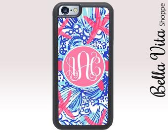 Summer Seashells iPhone SE Case, Personalized iPhone SE Case, Monogram iPhone SE Case, Summer Starfish Seashells 1201 I5S