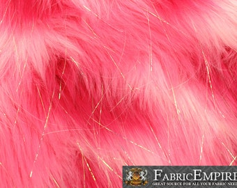 "Faux Fur Fabric Long Pile Rainbow SPARKLING Tinsel Hot Pink White Pink/ 60"" Wide / Sold by the yard"
