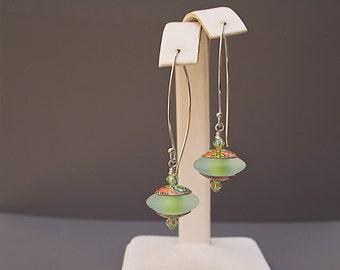 Green Glass Bead Earrings - Greenery Jewelry - Spring Jewelry - Green Lampwork Earrings