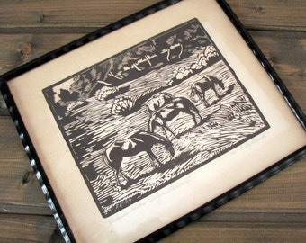 HORSES Black&white ink graphic drawing/picture by P.NORDLUND vintage Horses in meadow Picture in 1924s Wall decor Lithography#p905