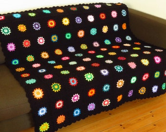 Colorful Crochet Blanket Colorful Granny Squares Blanket Colorful Crochet Afghan Colorful Sofa Throw