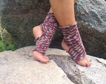 Hand knit yoga socks Leg warmers Rainbow yoga socks Summer socks Dance socks Feet warmers Colorful Knitted socks Pedicure socks Spa socks