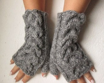 gray Fingerless gloves, Knitted gray, dark gray, cabled Fingerless women  fingerless with Cable, Women   Arm Warmers, winter accessory