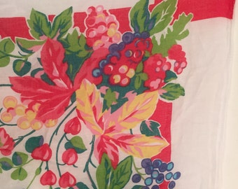 Vintage Scarf Bouquet of Blueberries Raspberries Blackberries on White with Red Ribbon