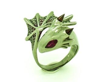 Blood Diamond Dragon Vermeil Ring