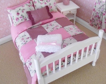 Handmade 12th scale furniture white doll house bed with patchwork shabby chic bedding set complete for a double bed
