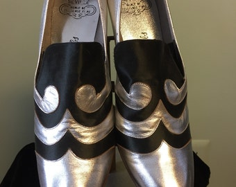 1920's-1930's Metallic Leather and Satin Slip-on Shoes