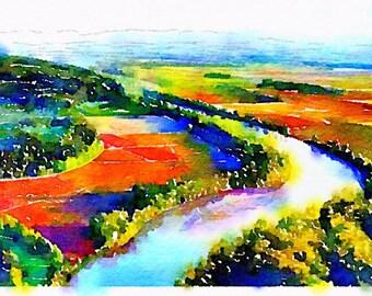 Farms Along the Willamette Watercolor Print
