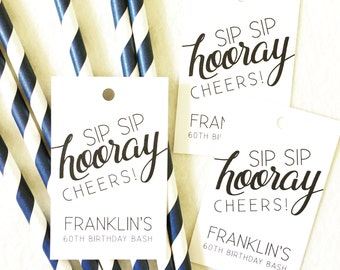 24 Personalized sip sip hooray black and white modern Favor Tags - Weddings, Birthdays, Bridal Showers Celebrations