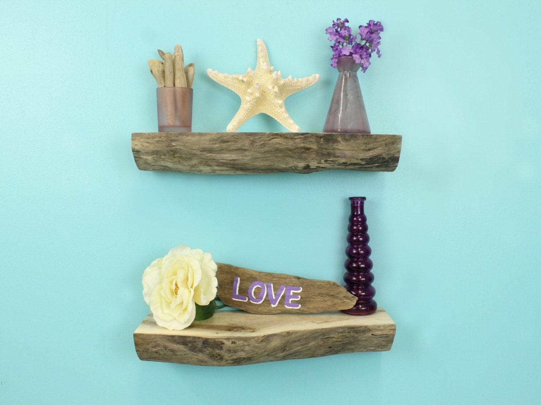 Floating driftwood wall shelves 14 1 4 set of 2 for Driftwood wall shelves