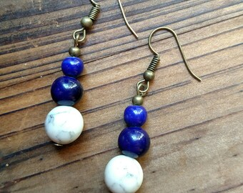 Howlite and ceramic beads dangle earrings
