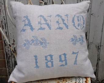 Pastel Blue and Natural Anno 1897 Vintage Hungarian Hand Spun Linen Cushion Pillow COVER ONLY
