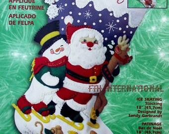 "Bucilla Ice Skating ~ 18"" Felt Christmas Stocking Kit #84384 Santa, Frosty, Snow DIY"