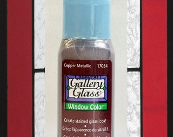 Plaid Gallery Glass Paint 17054 - 2 oz. Copper Metallic ~ Stained Glass Look