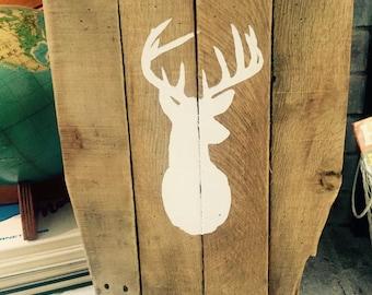 Deer Antler Silhouette Pallet Wood Sign