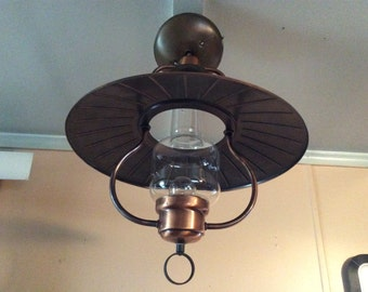 Vintage Early American Copper Hurricane Ceiling Light Fixture 1930s
