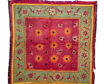 VINTAGE TEXTILE - Fine Vintage Chakla in flower and bird design on green and purple silk.