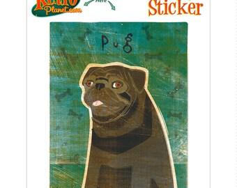 Pug Black Little Dog Vinyl Sticker - #63673