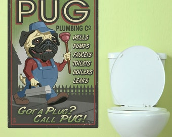 Pug Plug Plumber Funny Dog Wall Decal - #66955