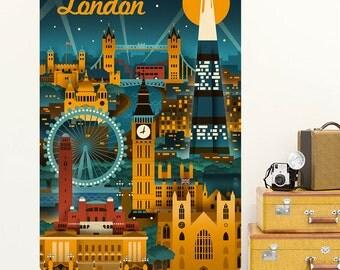 London City Nightlife Art Deco Wall Decal - #60670