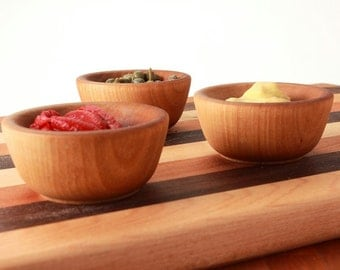Wooden Condiment Pinch Cups Set of 3 for the Cook